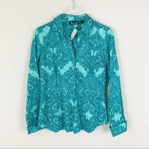 🎄NY&C NWT Teal Paisley Button Down Collared Shirt